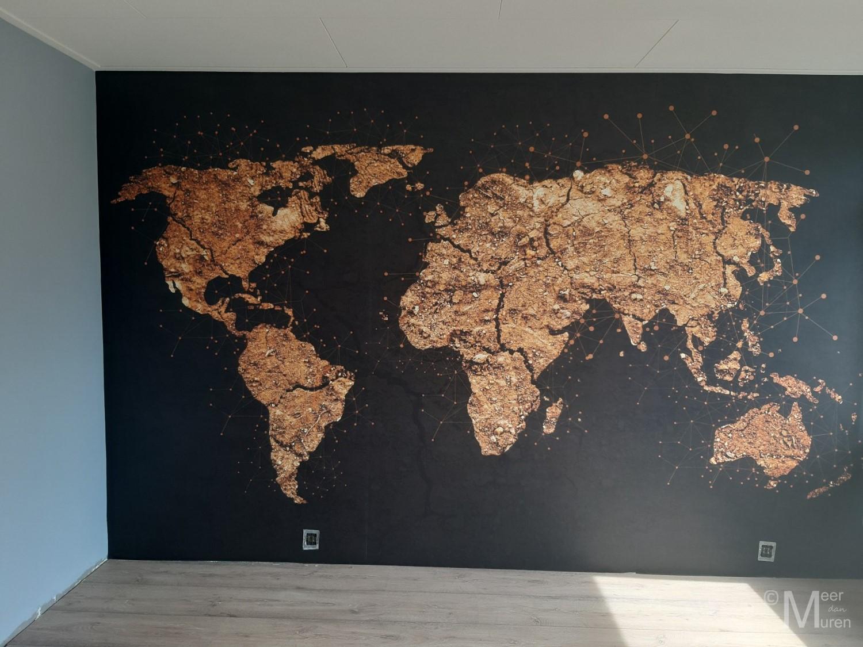 fotobehang slaapkamer wereldkaart goud emmen